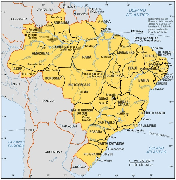 Mapa do Brasil - Capitais