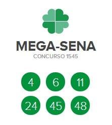 Resultado da Mega Sena   Concurso 1545  Resultado da Mega Sena   Concurso 1545
