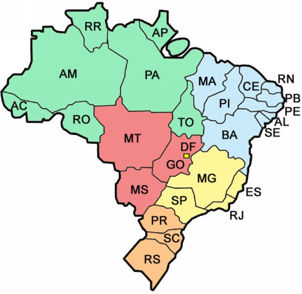 Mapa Brasil Estados e Regioes